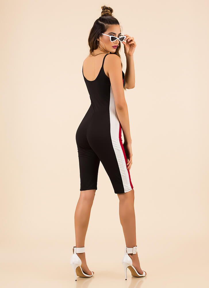 Stripe Out Sporty Cropped Jumpsuit BLACK