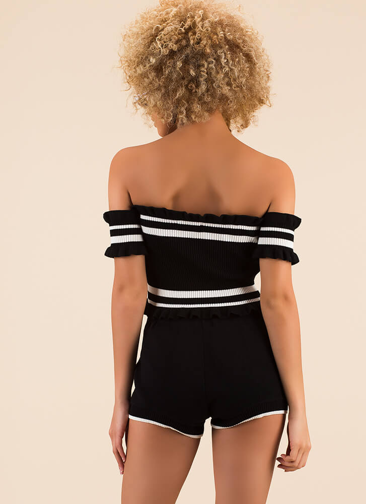 Stripes Earned Knit Top And Shorts Set BLACK