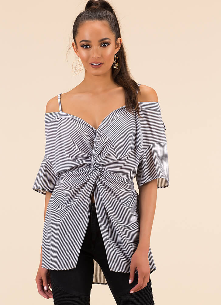 Top With A Twist Pinstriped Blouse BLACK