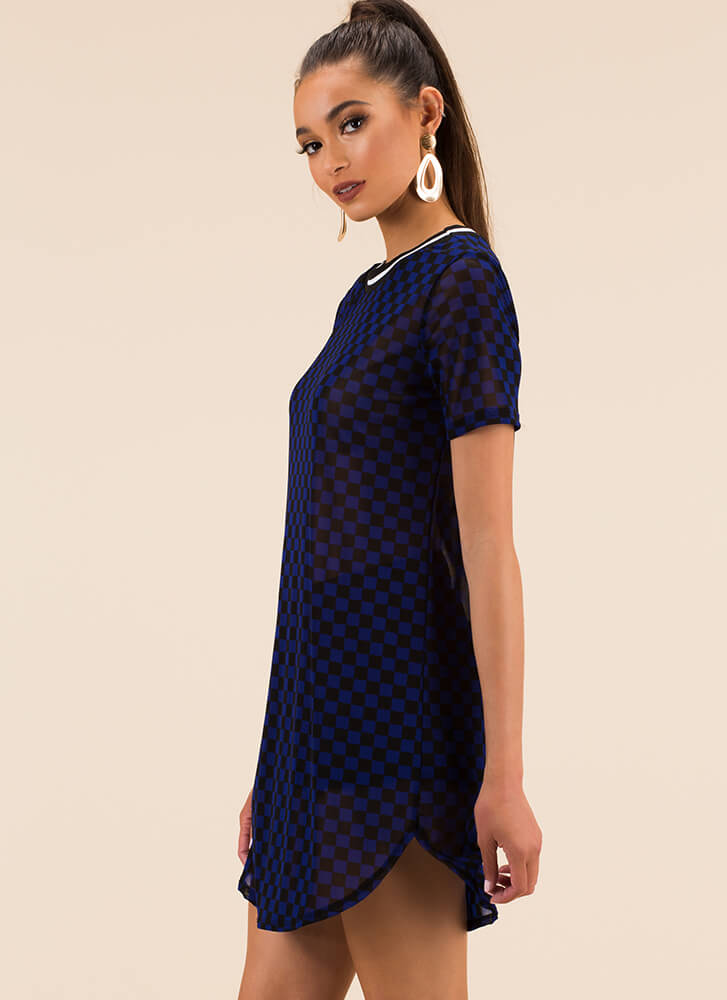 Checker Champion Mesh Shirt Dress ROYALBLACK