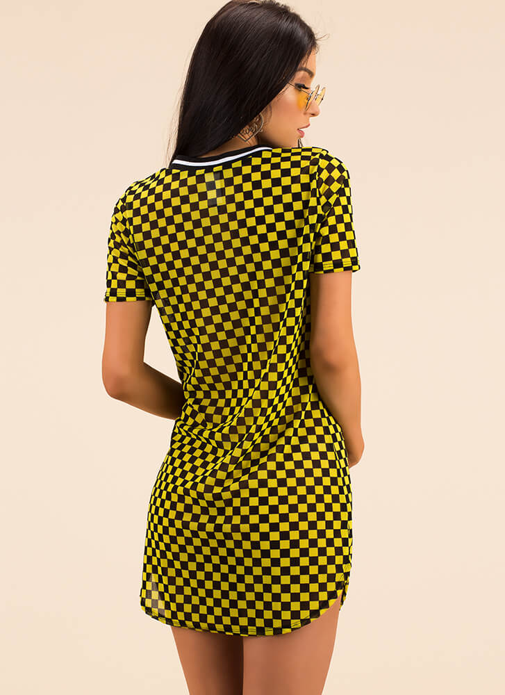 Checker Champion Mesh Shirt Dress YELLOWBLACK