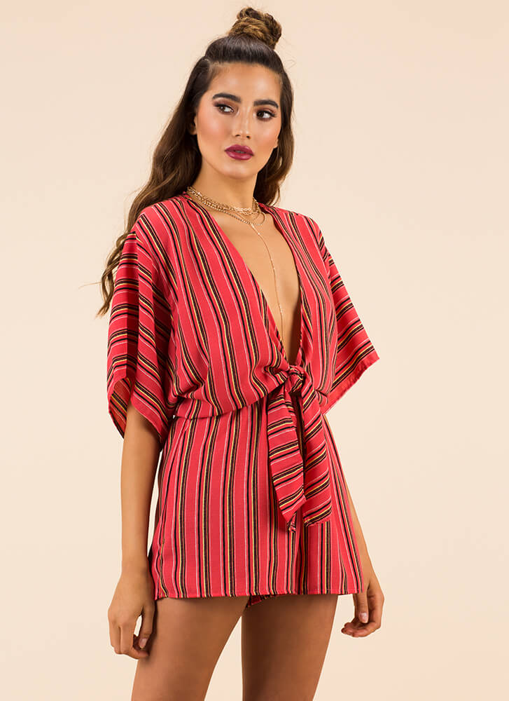 Taking The Plunge Striped Tied Romper CORAL