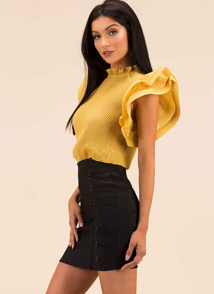 Absolute Frill Pleated Ruffled Blouse MUSTARD