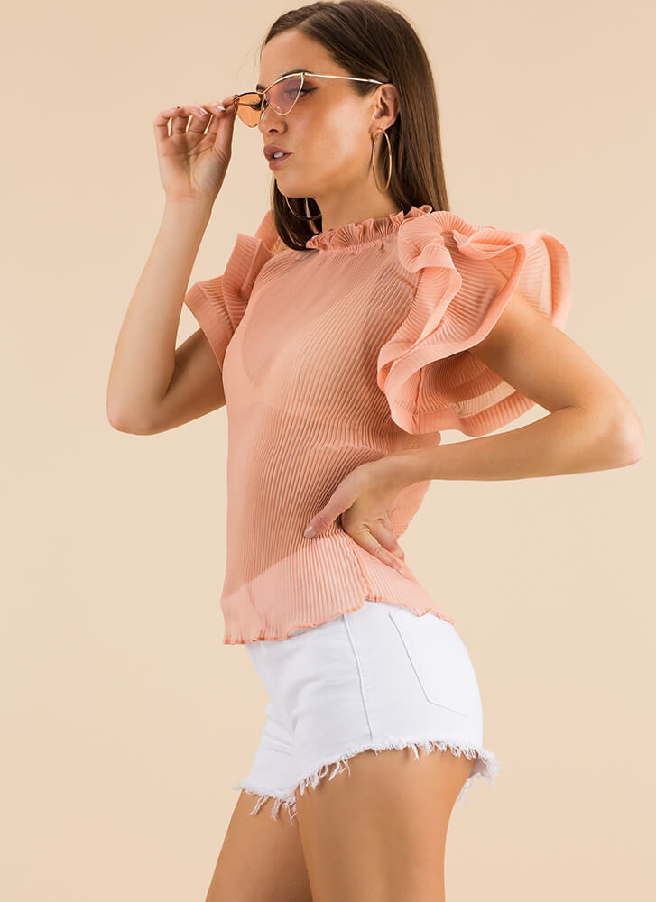 Absolute Frill Pleated Ruffled Blouse PINK