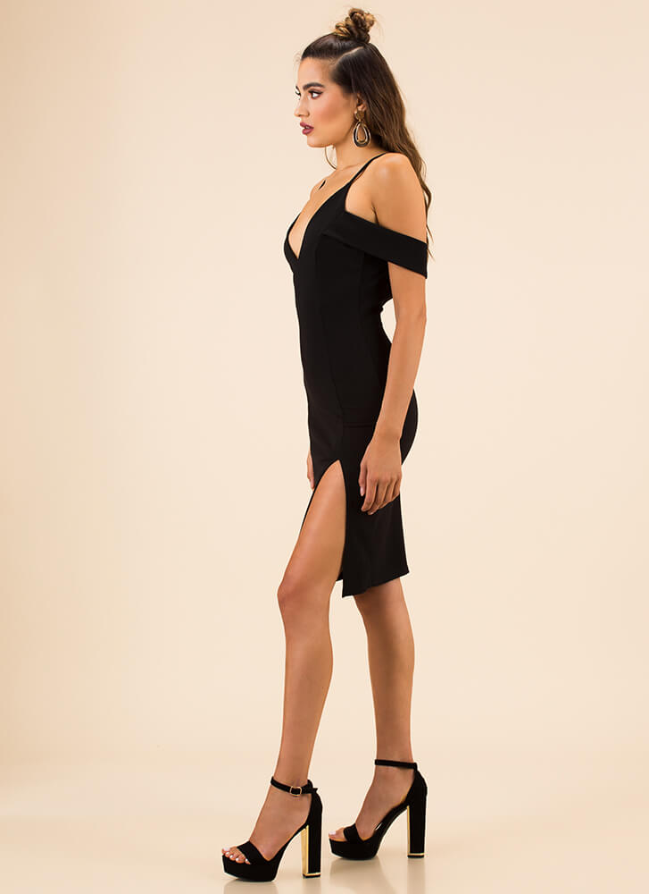 Embrace Me Banded Open-Back Dress BLACK