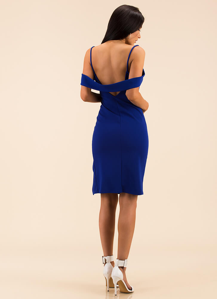 Embrace Me Banded Open-Back Dress ROYAL
