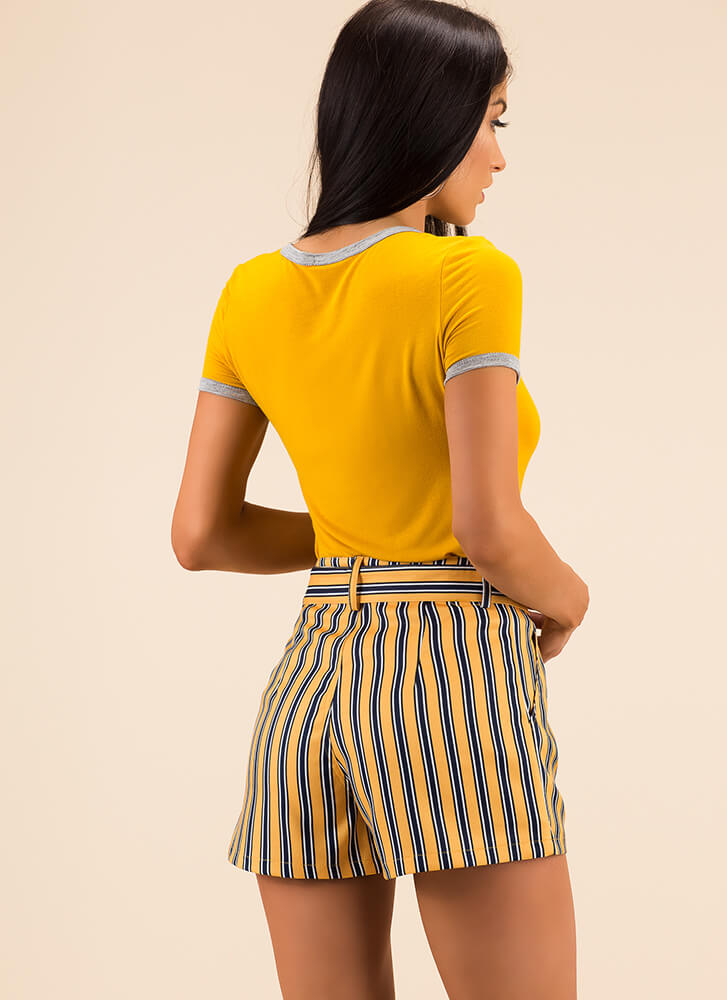 Pretty And Preppy Striped Belted Shorts YELLOW
