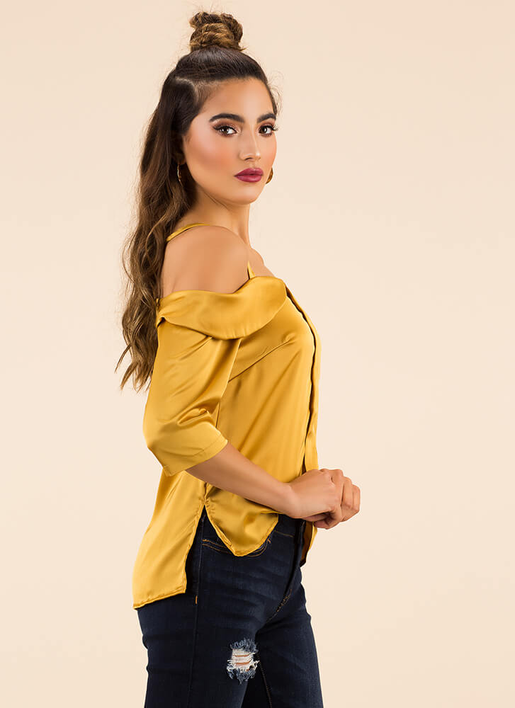 Stunning In Satin Cold-Shoulder Top MUSTARD