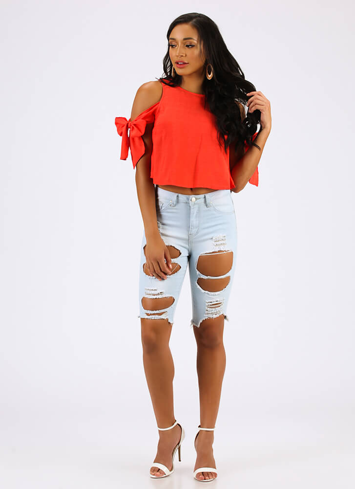 One Beau Two Bows Tied Cold-Shoulder Top REDORANGE