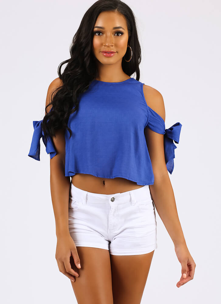 One Beau Two Bows Tied Cold-Shoulder Top ROYAL