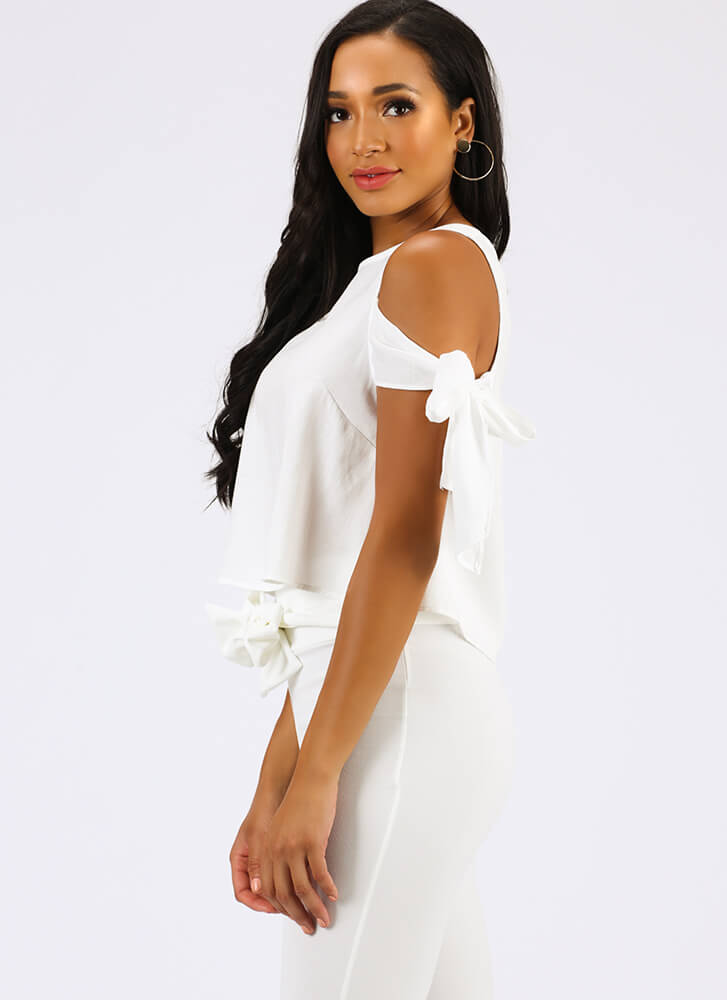 One Beau Two Bows Tied Cold-Shoulder Top WHITE