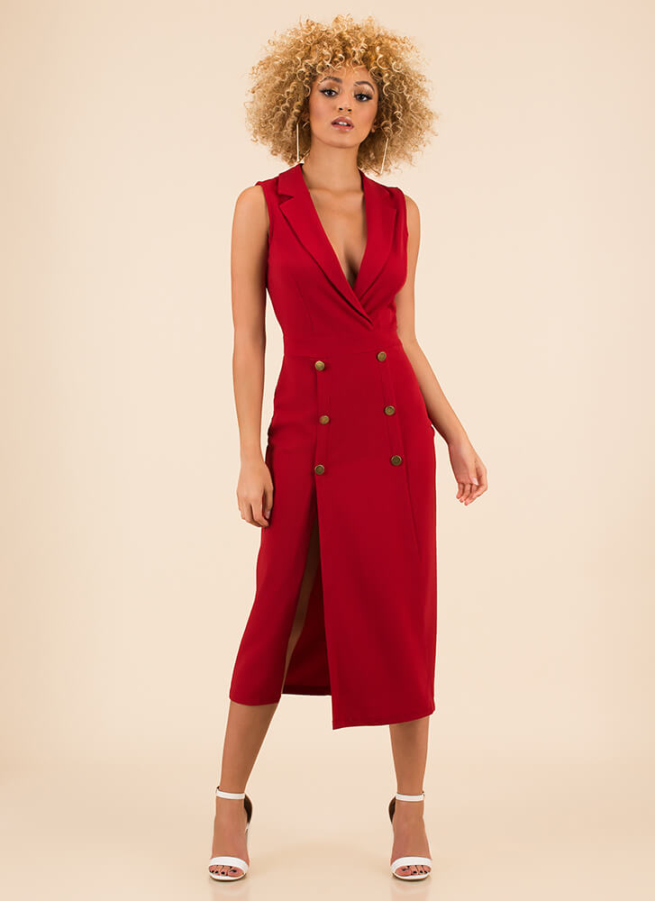 Suit Up Double Slit Open-Back Dress RED (You Saved $29)