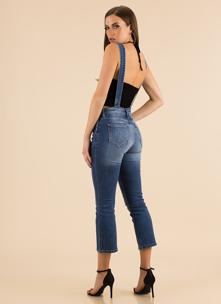 Weekend Update Cropped Denim Overalls BLUE