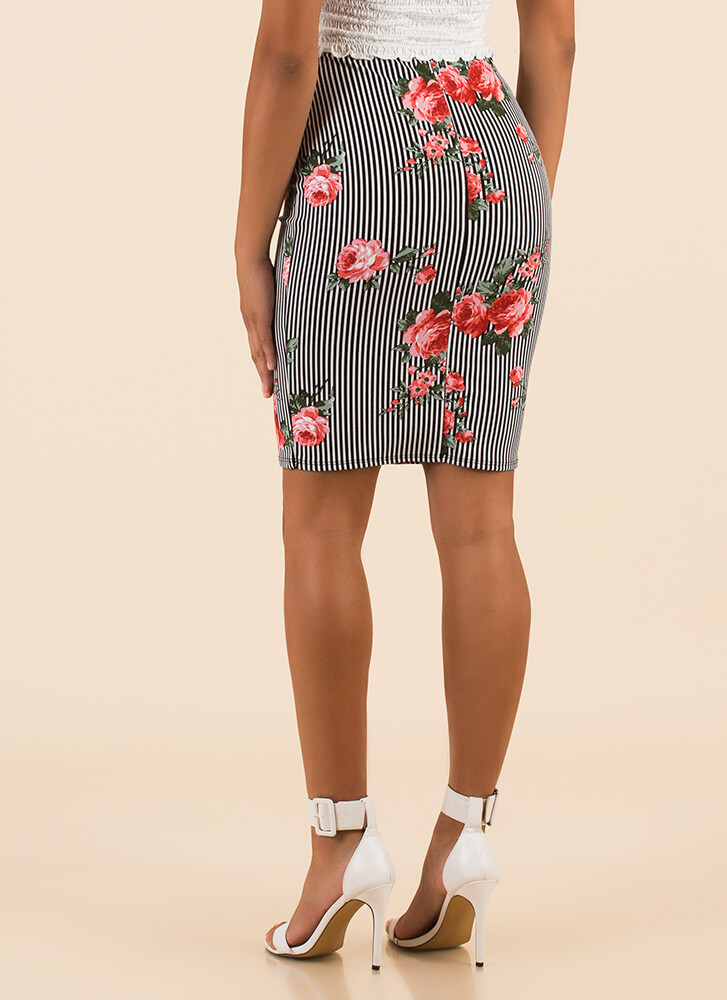 Rose To The Top Striped Floral Skirt BLKWHITERED