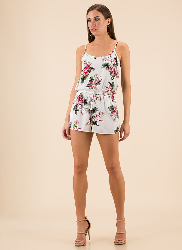 Spring In Your Step Floral Romper WHITE (Final Sale)