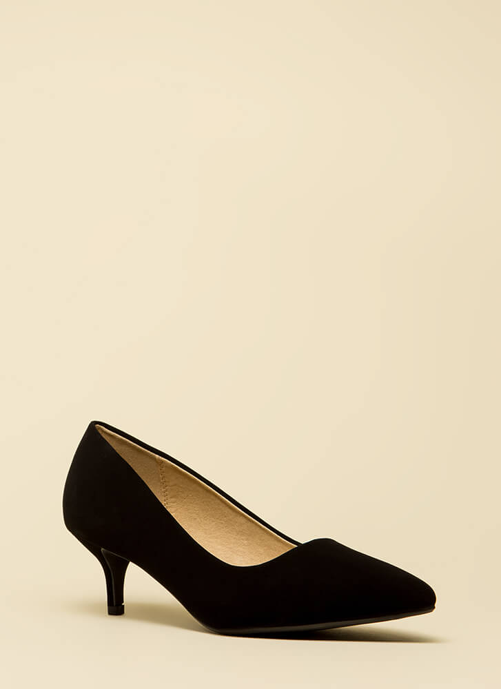 Point Out Faux Nubuck Kitten Heels BLACK (Final Sale)