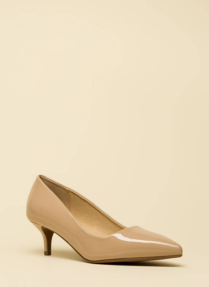Point Out Faux Patent Kitten Heels DKBEIGE