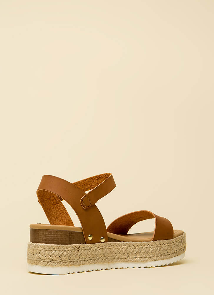 Day Date Faux Leather Platform Sandals TAN