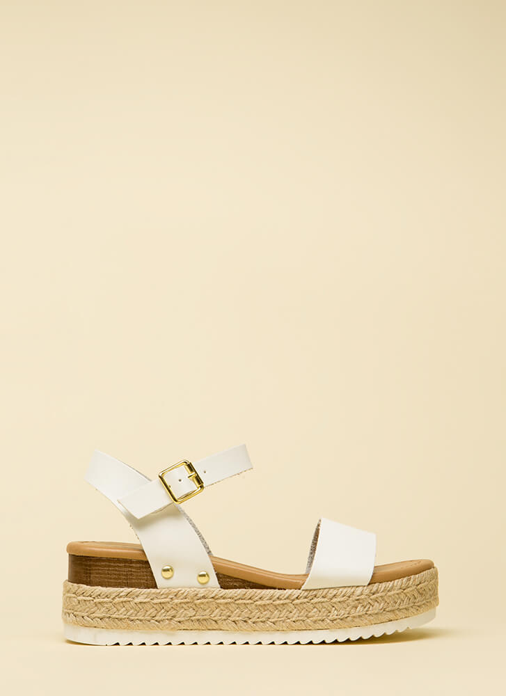 Day Date Faux Leather Platform Sandals WHITE