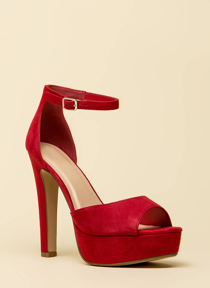 Dream Come True Faux Suede Platforms BRIGHTRED