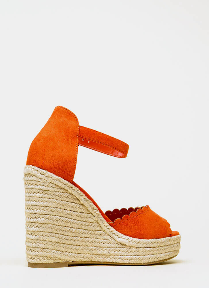 Cutie Patootie Scalloped Wedges BRIGHTORANGE