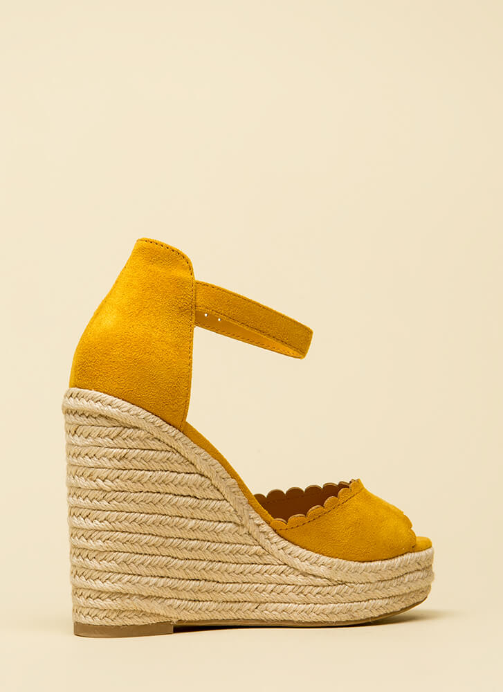 Cutie Patootie Scalloped Wedges MUSTARD