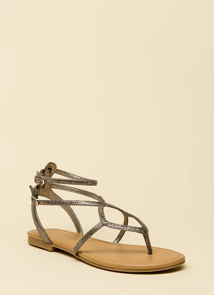 Shimmer Strappy Jeweled Thong Sandals PEWTER