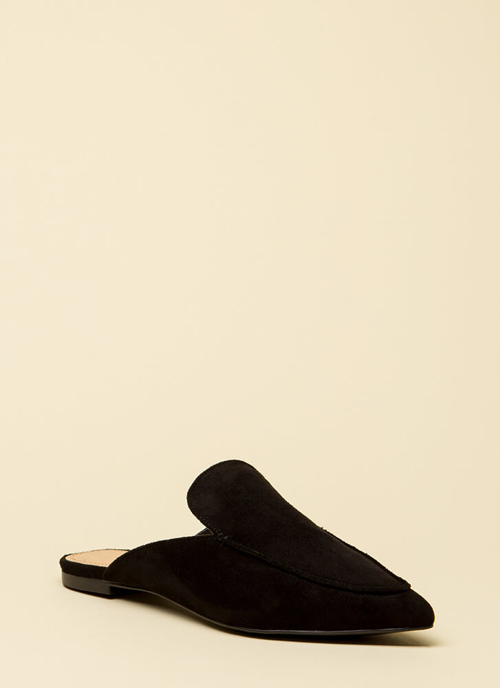 At Your Leisure Pointy Mule Flats BLACK