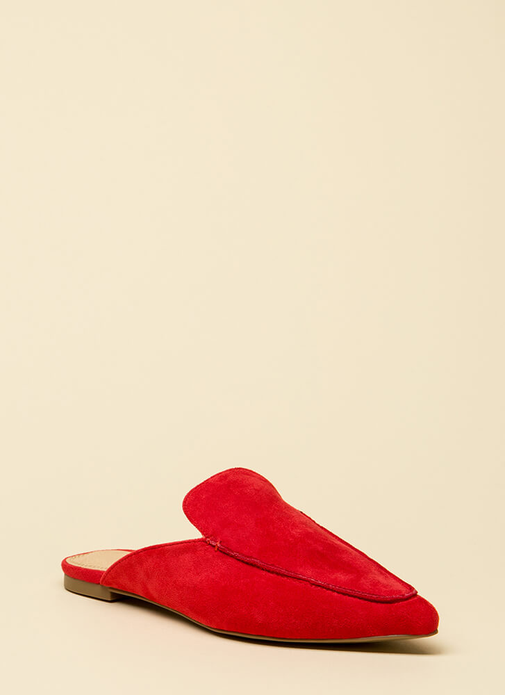 At Your Leisure Pointy Mule Flats RED