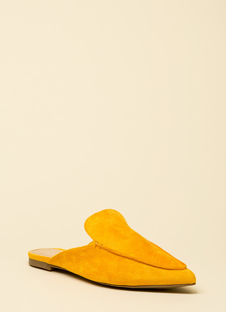At Your Leisure Pointy Mule Flats YELLOW