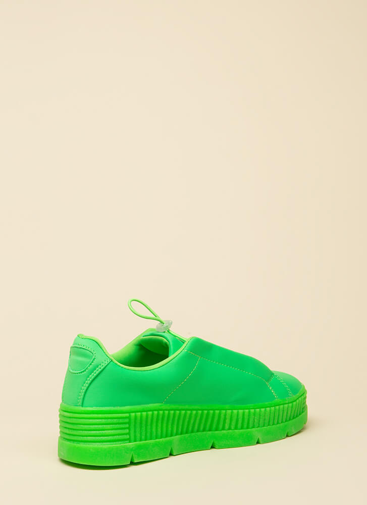 Get Thick Quick Platform Sneakers GREEN