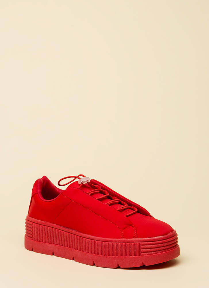Get Thick Quick Platform Sneakers RED