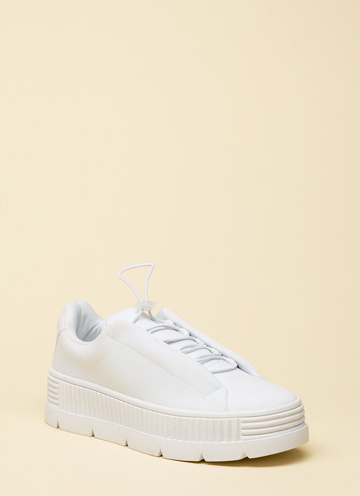 Get Thick Quick Platform Sneakers WHITE