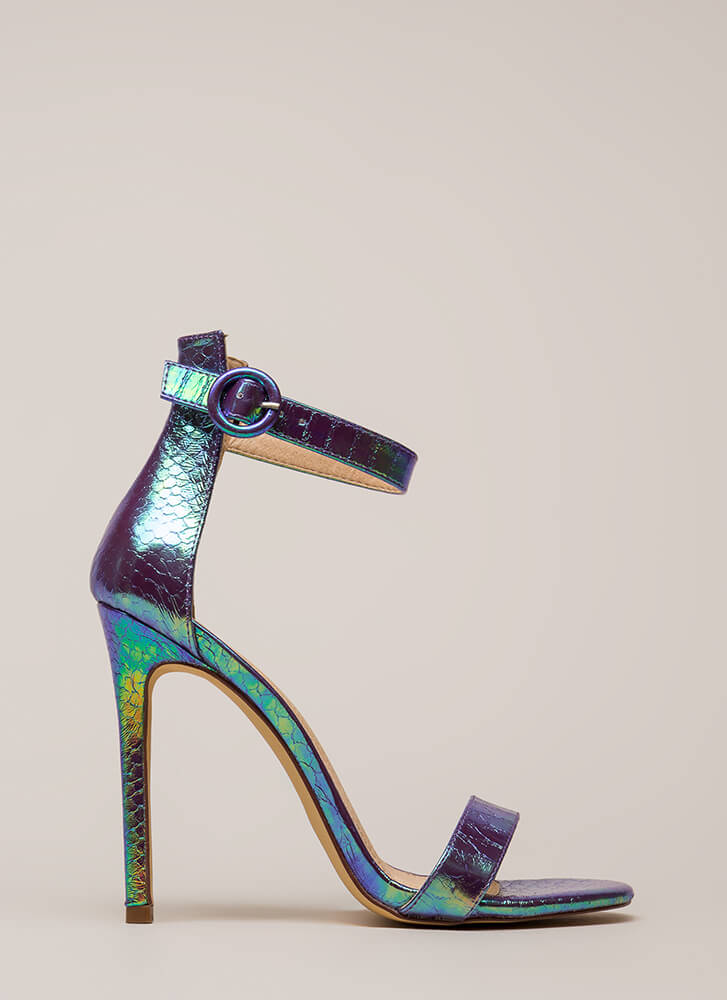 So Ready Holographic Ankle Strap Heels PURPLE