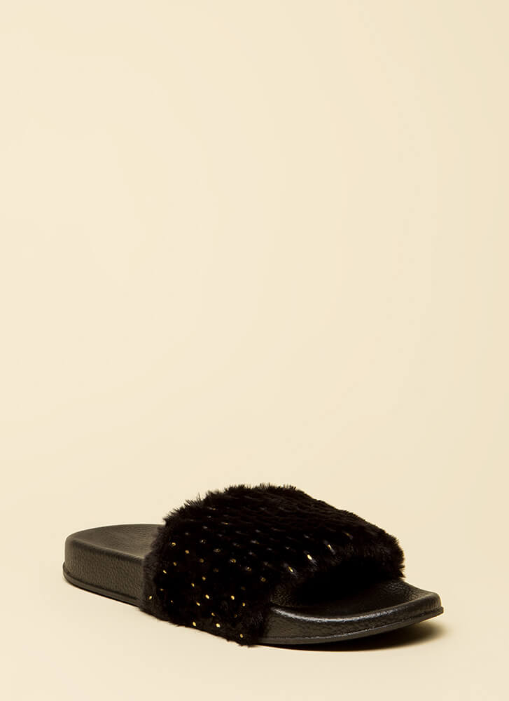 Seeds The Day Faux Fur Slide Sandals BLACK