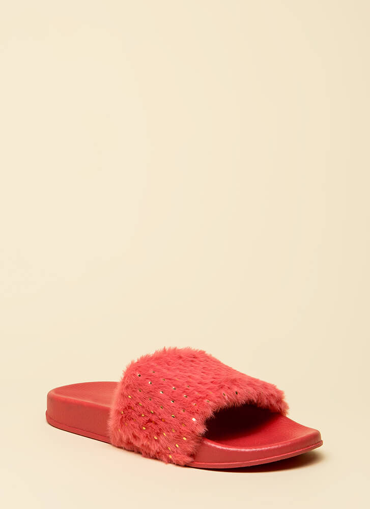 Seeds The Day Faux Fur Slide Sandals CORAL