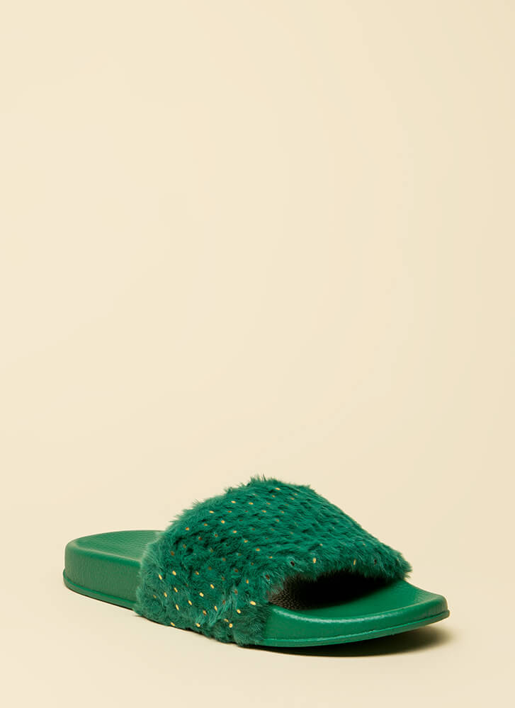 Seeds The Day Faux Fur Slide Sandals GREEN