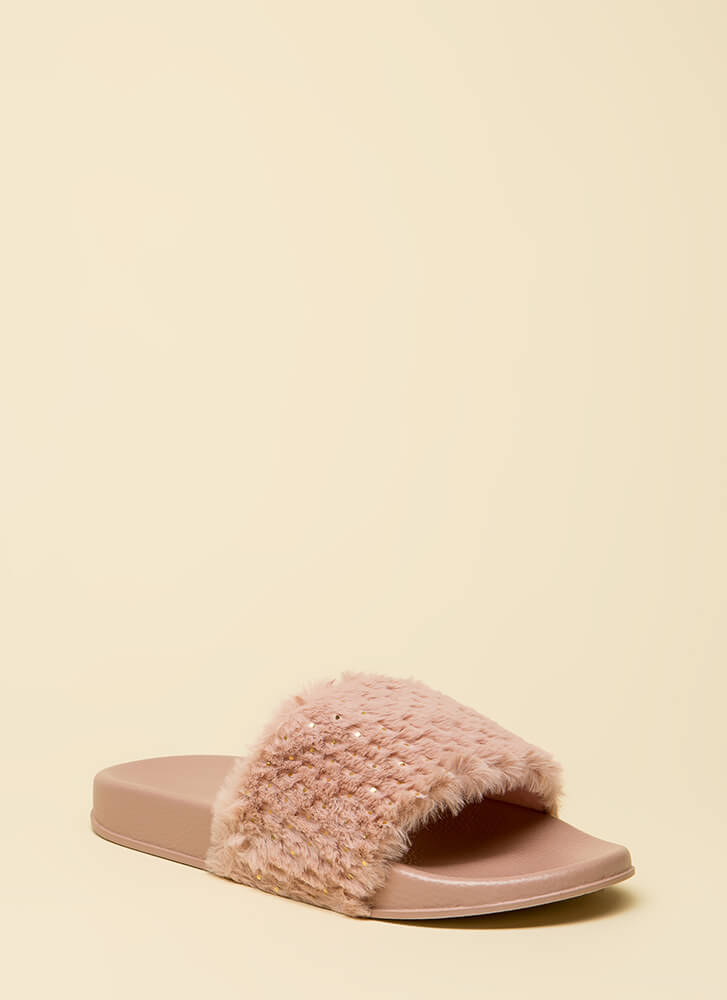 Seeds The Day Faux Fur Slide Sandals MAUVE
