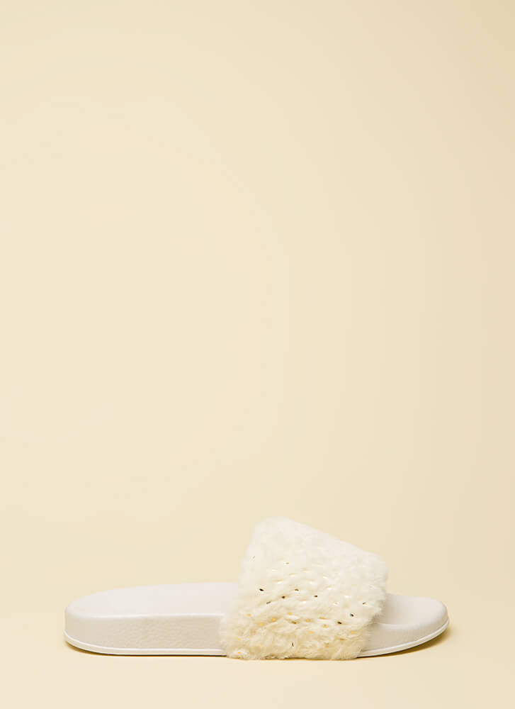 Seeds The Day Faux Fur Slide Sandals WHITE