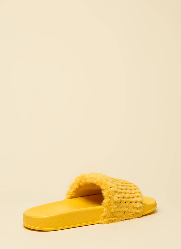 Seeds The Day Faux Fur Slide Sandals YELLOW