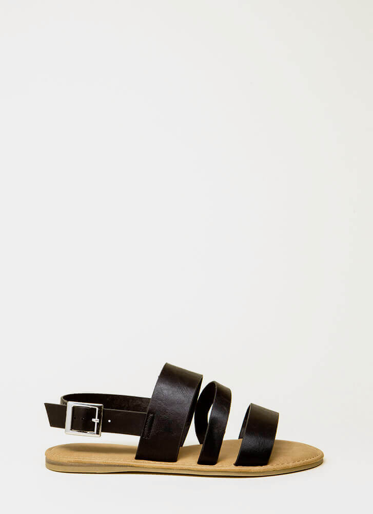 Happy Feet Triple Strap Sandals BLACK