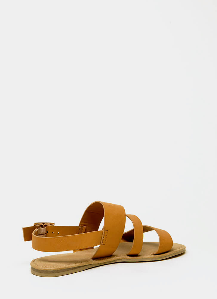 Happy Feet Triple Strap Sandals NATURAL
