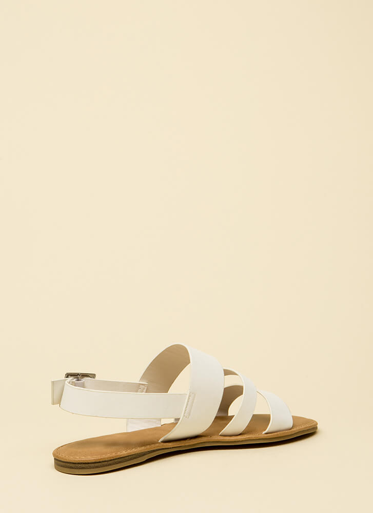 Happy Feet Triple Strap Sandals WHITE