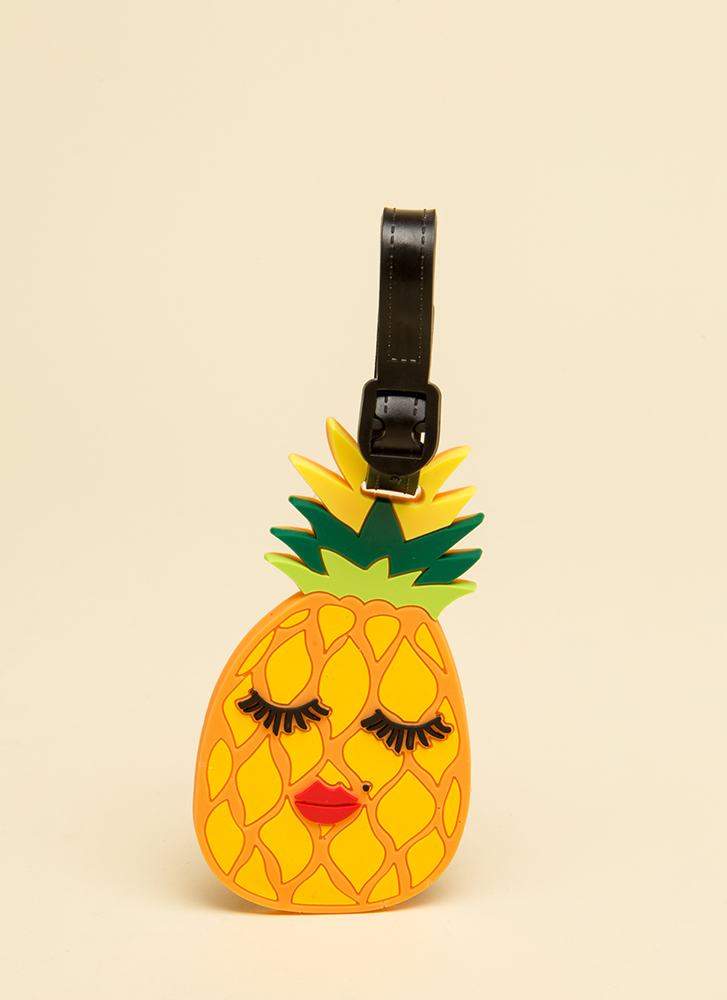 Make A Face Pineapple Luggage Tag YELLOW