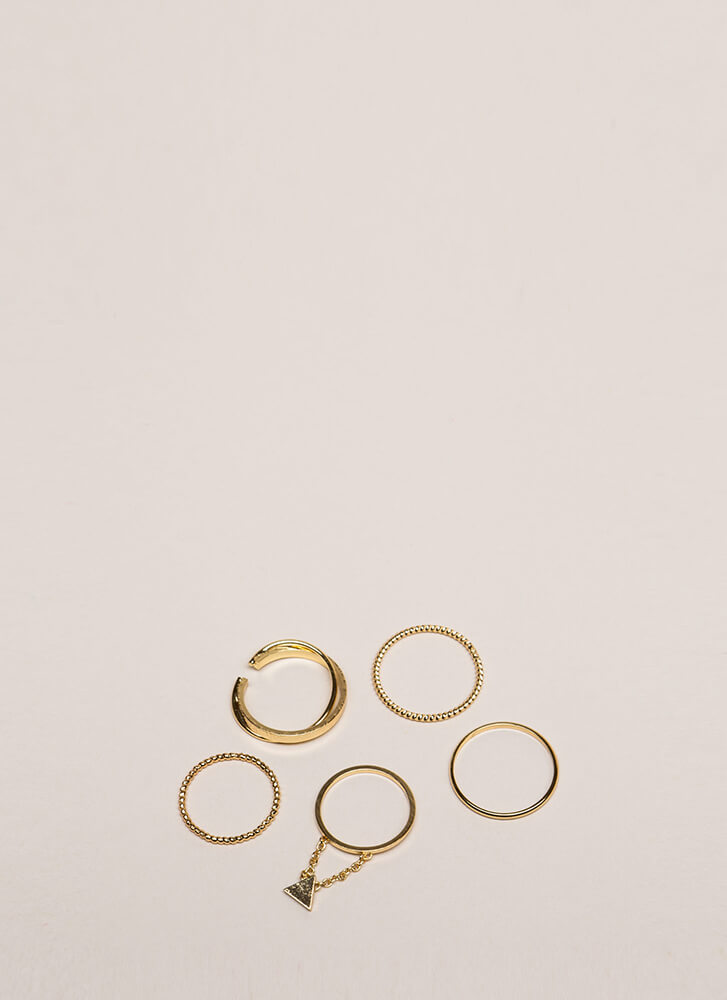 Totally Mix-Matched 5-Piece Ring Set GOLD