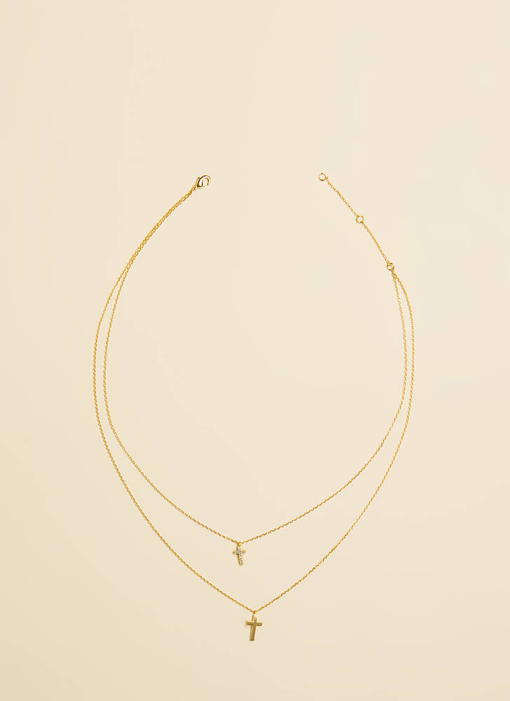You Double-Crosser Layered Necklace GOLD