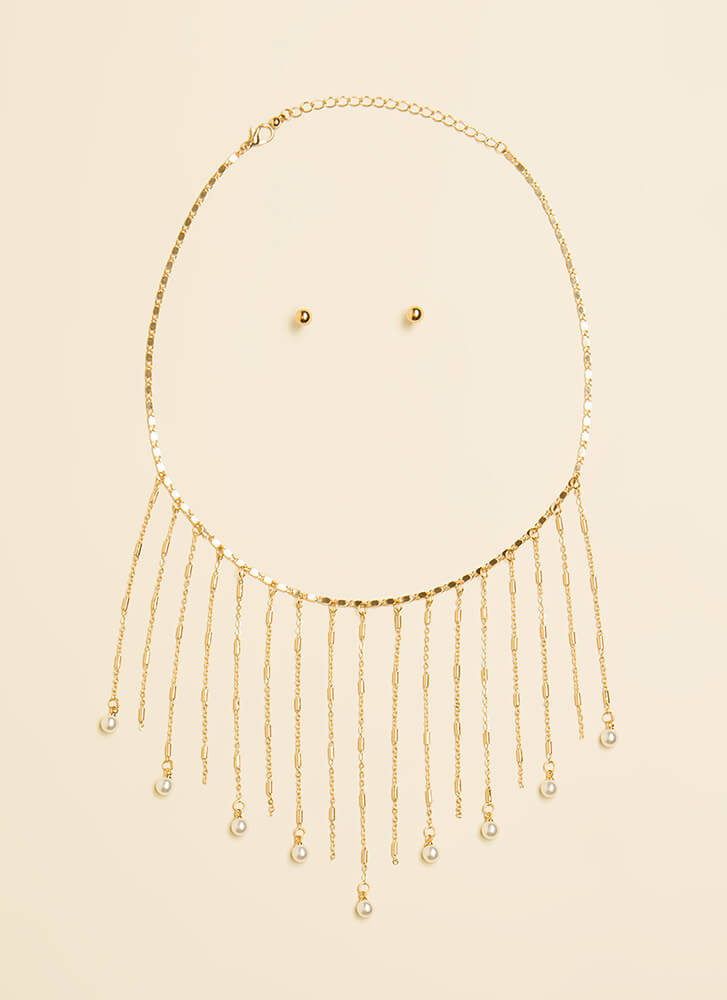 Pearl Dive Fringed Chain Necklace Set GOLD