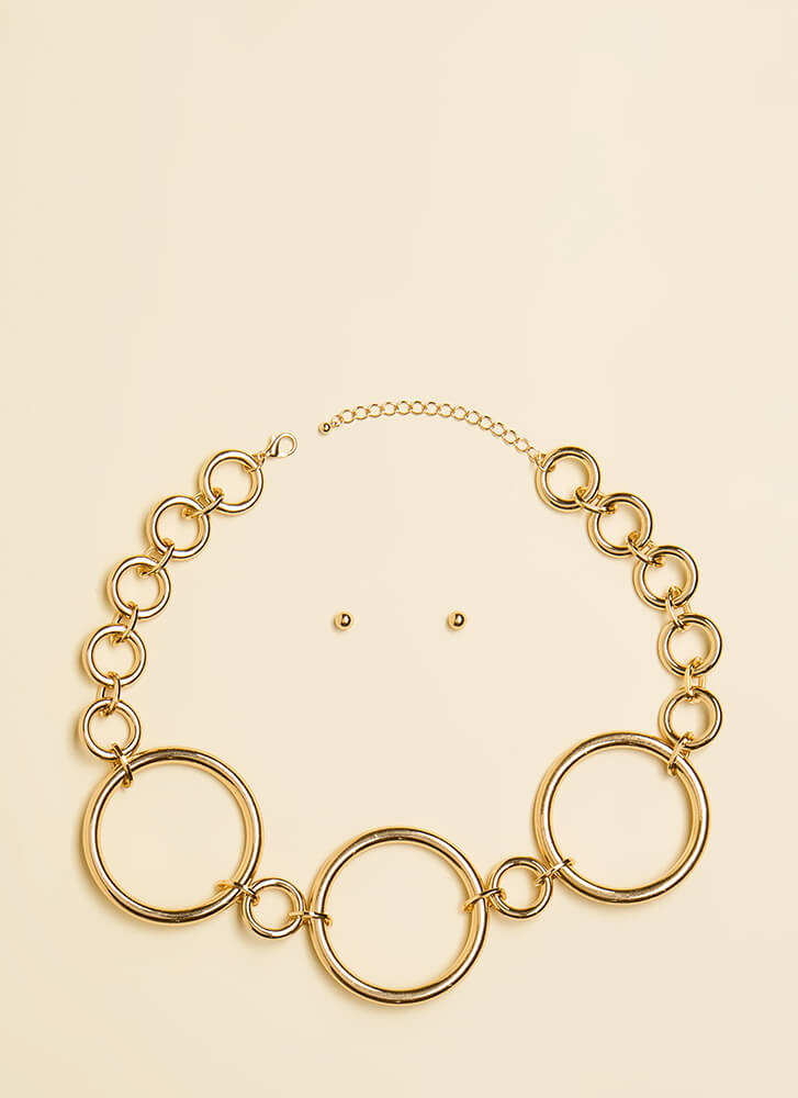 Feeling Hoopy Ring Charm Necklace Set GOLD