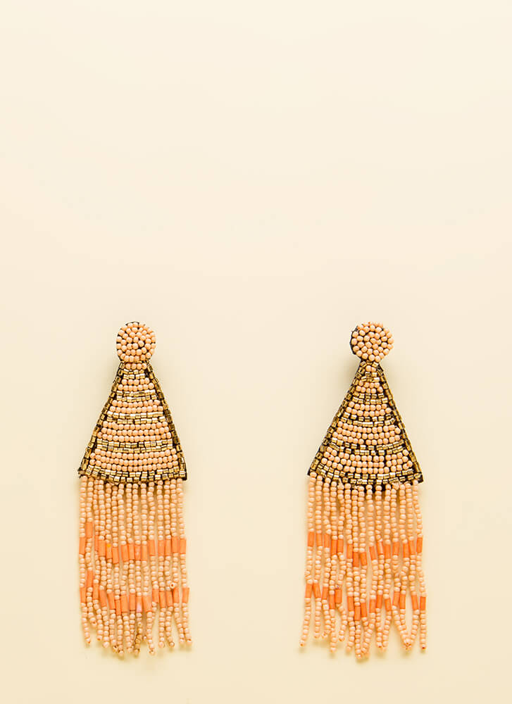 Bring To The Party Beaded Earrings PEACH