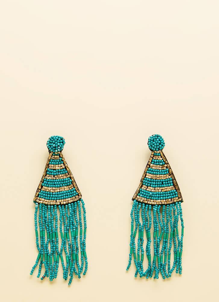 Bring To The Party Beaded Earrings TURQUOISE